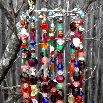 Beaded Sun Catcher, Garden Art, Beaded Mobile, Recycled Jewelry, Outdoor Porch Decor, Wind Chimes, Gift Idea for Her, Hanging Garden Decor