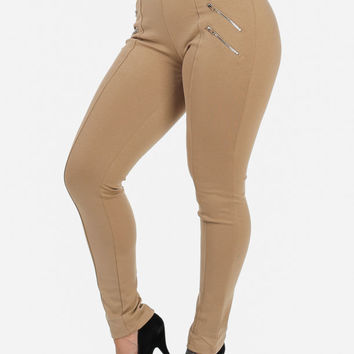 Khaki High Waist Skinny Pants