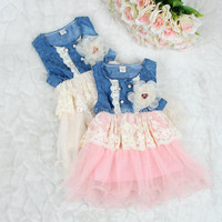 Girl Children Fashion Openwork Denim Lace TUTU Dress With Flower Girls New Summer Sleeveless Denim Lace Floral Princess Dress 4 pcs/lot