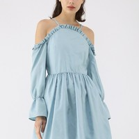 Beauty Remains Cold-Shoulder Dress in Baby Blue