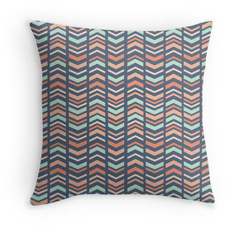 Mint, Coral, Blue Tribal Decorative Pillow Cover, Arrow Pattern, Ethnic, Available in sizes 16x16, 18x18, 20x20,