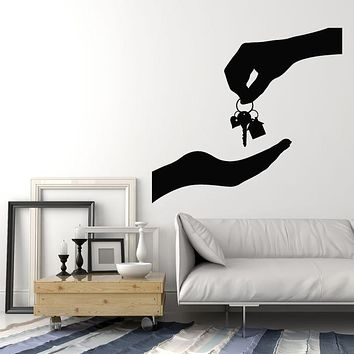 Vinyl Wall Decal Real Estate Agency House Keys Realtor Decor Stickers Mural (g2997)