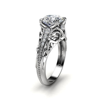 Unique Moissanite Engagement Ring 14K White Gold Ring Promise Ring Filigree Engagement Ring