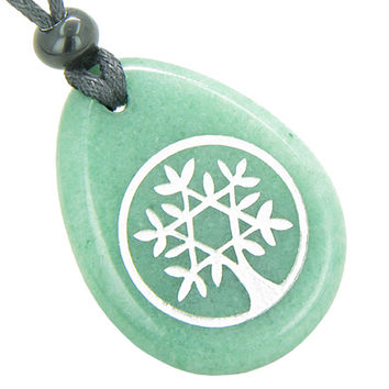 Tree of Life Circle King of Solomon Star Amulet Green Quartz Pendant Necklace