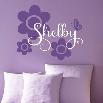 Teen Girl Name Flowers Butterfly Vinyl Wall Lettering Quote Decal Set