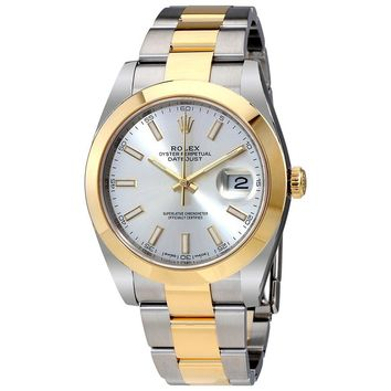 Rolex Datejust 41 Silver Dial Steel and 18K Yellow Gold Rolex Oyster Mens Watch