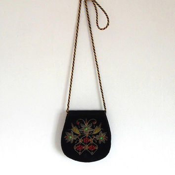 Beaded velvet art deco purse / ruby / jade / gemstone / wire embroidered / floral / vintage / gold / evening  / lined / small shoulder bag