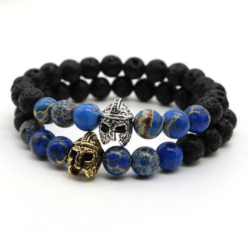 Antique Gold Plated Roman Warrior Gladiator Helmet Bracelet Men Beaded Blue Sea Sediment Stone Bracelets For Men Jewelry N0-4