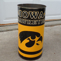 1980 Iowa Hawkeyes Tin Litho Trashcan