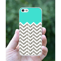 Chevron Pattern Turquoise Grey White Mixed iphone 5 5s case iphone 4 case iphone 4S cover (NOT ACTUAL GLITTER)