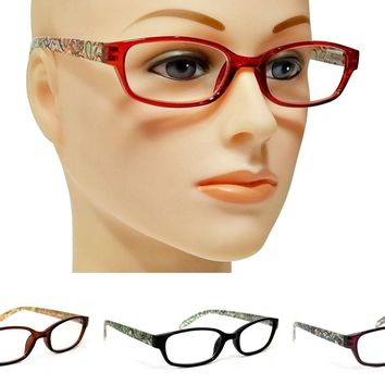 WOMEN SOFT RECTANGULAR VINTAGE READING GLASSES SPRING HINGES FRAME READERS 6120