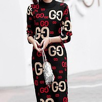 GUCCI Autumn Winter New Trending Women Stylish GG Letter Long Sleeve Knit Dress Black