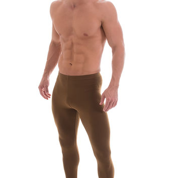 Leggings Tights in Saddle Brown Stretch Suede