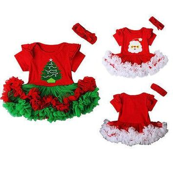 Cute First Christmas Baby Girl Tutu Dress Short Sleeve Santa Claus Romper Jumpsuit Outfits Xmas Gift