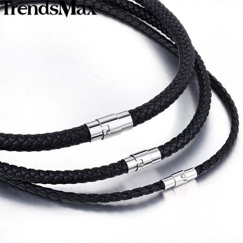 Trendsmax  Women Men Black Leather  Choker Necklace Chain Friendship Jewelry UNM09