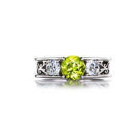Peridot and diamond filigree engagement ring, white gold ring, three stone, unique, vintage, peridot engagement, green wedding, custom ring