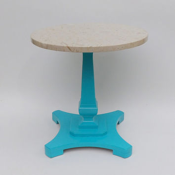Marble Occasional Table Aqua Wood Round Base Bright Vibrant Beach House Feel. Perfect Coffee Occasional  Entryway Coastal Living Coast Blue