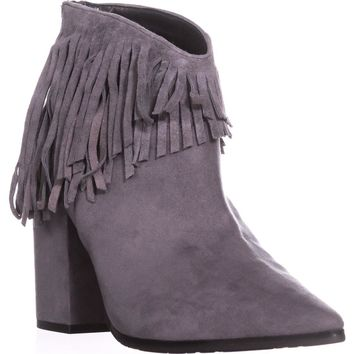 Kenneth Cole REACTION Pull Ashore Fringe Ankle Booties, Charcoal, 8.5 US / 39.5 EU