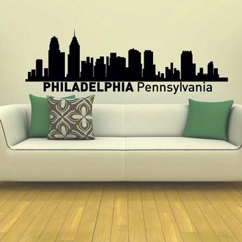 Wall Decal Vinyl Sticker Philadelphia Skyline City Scape Silhouette Decor Sb145