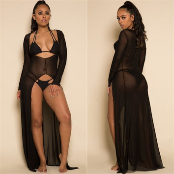 Sexy Beach Party See Through White Mesh Maxi Dress Deep V Neck Long Sleeve Sheer Bodycon Women Vestidos Plus Size Long Dress