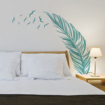 Feather With Birds Wall Sticker