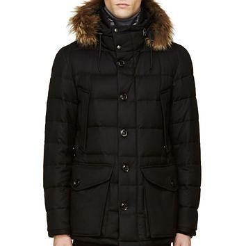 Moncler Black Quilted And Fur-trimmed Rethel Jacket