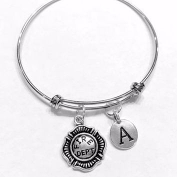 Initial Adjustable Bangle Charm Bracelet Fire Dept Firefighter Wife Mom