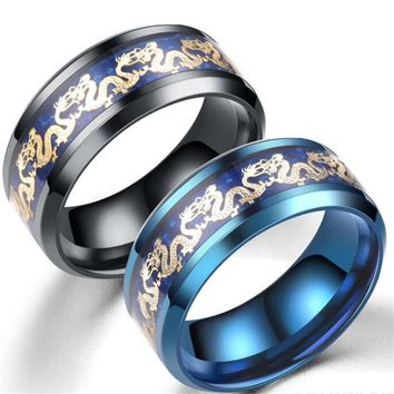 Punk Rock Chinese Dragon Stainless Steel Ring Mens Jewelry for Women Boy Lord Wedding Male Finger Ring for Lovers Present