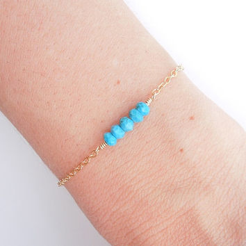 Turquoise Bracelet in Gold - Beaded Jewelry