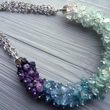Stone necklace Statement fluorite necklace Stone jewelry Blue green purple necklace Multicolor fluorite jewellery Cluster gemstone necklace