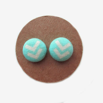 Turquoise with White Arrows Button Earrings // Turquoise // Arrows // Chevron // Button Earrings // Turquoise Earrings // Fall Stud Earrings