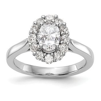 14k White Gold Oval Halo Engagement Simulated Diamond Ring