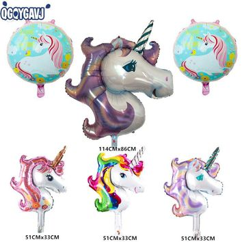 QGQYGAVJ 6pcs New Unicorn  theme balloons  kids Birthday Party Wedding decoration aluminium foil balloon Toys supplies