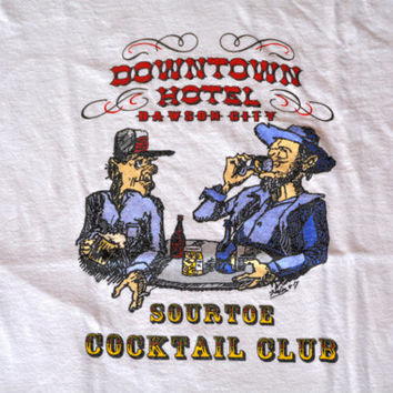 Vintage Dawson City White Cotton Tee T Shirt Sourtoe Cocktail Club - Size L Large
