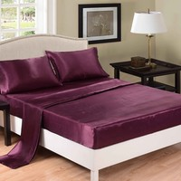 Honeymoon 4PC bed sheet set, Purple sheet, Full set, HM00209001F-PUR
