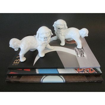 White Porcelain Foo Dogs Statues Bookends