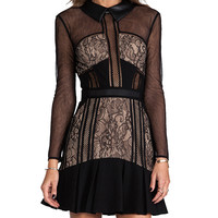self-portrait Sheer Light Dress in Black