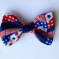 Patriotic, Red white and blue Bow Tie,  Patriotic Hair Bow - 4th of July bow Toddler, Child, Adult