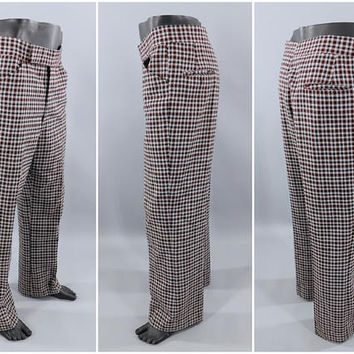 1970's Vintage / Plaid Golf Pants / 70's Vintage Men's Slacks / Golf Slacks / CRICKETEER / CaddyShack Pants / 34x29 / 70s Party Pants