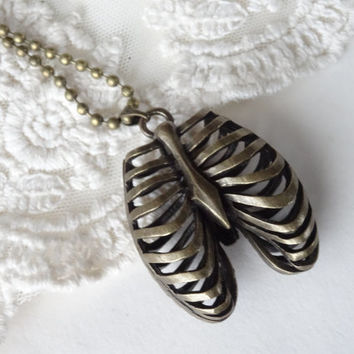 1- Human Ribcage Necklace 3D Bronze Human Anatomy Jewelry Rib Cage Double Sided Creepy Statement Finished Jewelry