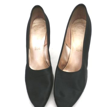 Vintage Ladies Shoes Black Silk Satin Evening Pumps Stiletto Heels -1950S 7.5