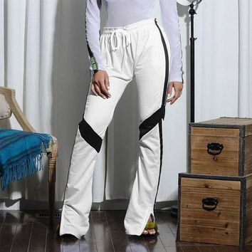 DCCKXT7 Women Casual Stripe Webbing Multicolor Side Split Leisure Pants Trousers