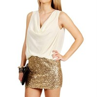 Sleeveless Cowl Neck Sequin Tunic