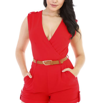 Red Buckle Up Stylish Summer Romper