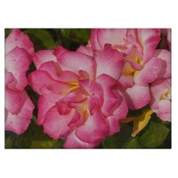 Lovely Pink Roses Large Glass Cutting Board