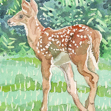 Baby Deer Watercolor Print. Watercolor deer. Country decor. Deer wall art. Deer picture. Watercolor animal. Brown green white. Deer artwork.