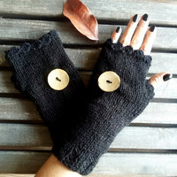 Black Gloves,Handmade,Knit Glove,Hand Warmer,Crochet Glove,Fingerless Gloves,Winter Gloves,Women Gloves,Arm Warmers,Crochet Glove,Gift Ideas