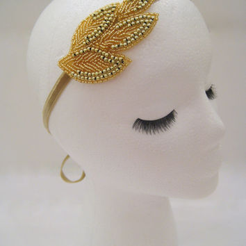 Gold leaf headband, goddess headband, wedding hairpiece, gold bridal headband, Grecian headband, Lady Mary headpiece, gold art deco