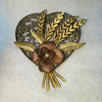 Layered Flower On Heart with Pearl Gold Tone and Silver Tone Brooch / Pin