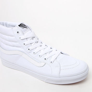 Vans Women's White Canvas Sk8-Hi Slim Sneakers at PacSun.com